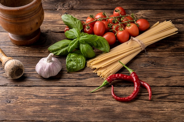 Italian food ingredients for pasta with sauce