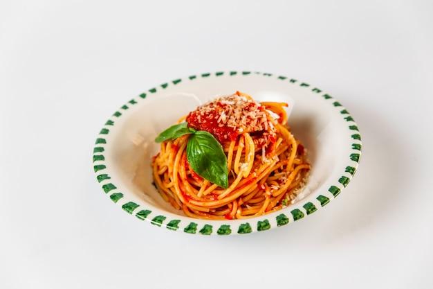 Italian food spaghetti amatriciana bucatini