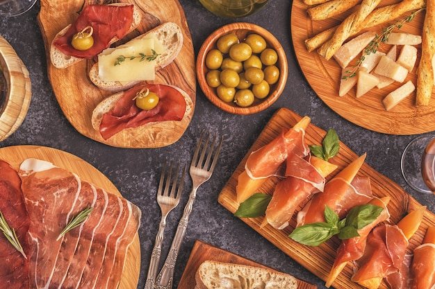 Italian food with ham, cheese, olives