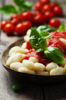Italian gnocchi with tomato and basil