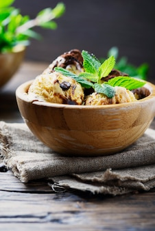 Italian ice cream tiramisu with coffee and mint