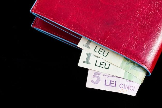 概念に役立つルーマニアのお金とイタリアの革の財布