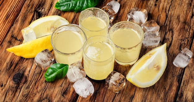 Italian limoncello with fresh lemons