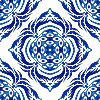 イタリアのマジョリカ焼き、水彩イラストセラミックタイルのイタリアのマジョリカ焼き、青い色