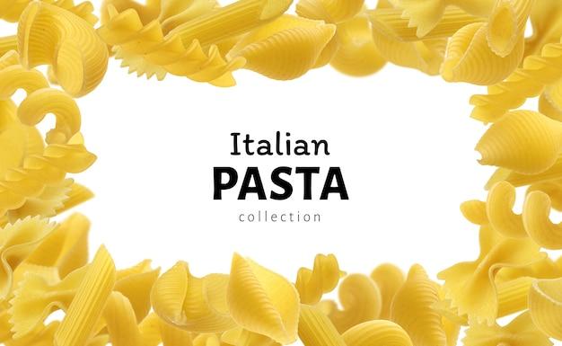 メニューデザインテンプレート用のイタリアンパスタフレーム、コピースペース付きの白い背景の上のさまざまな生パスタタイプ
