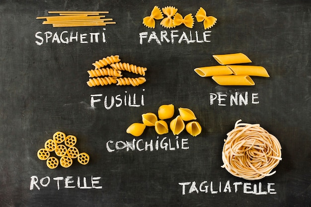 Italian pasta set on blackboard