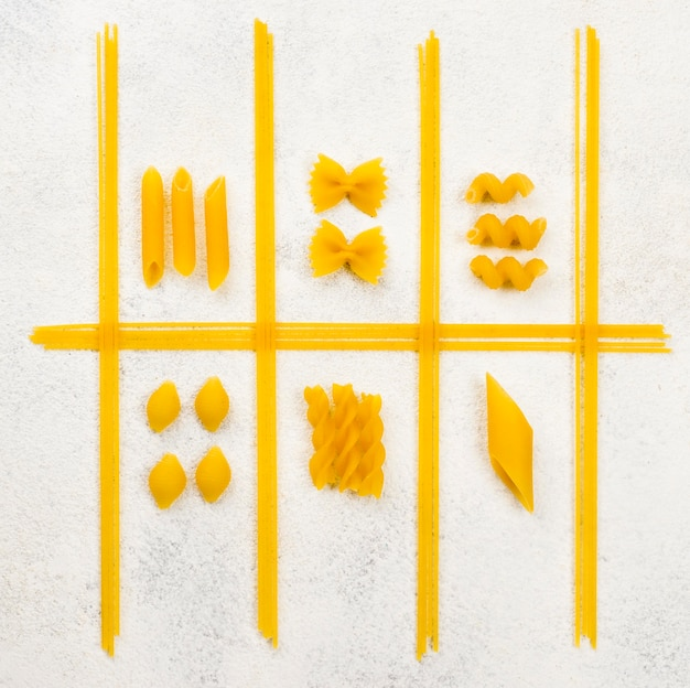 Italian pasta shape on desk
