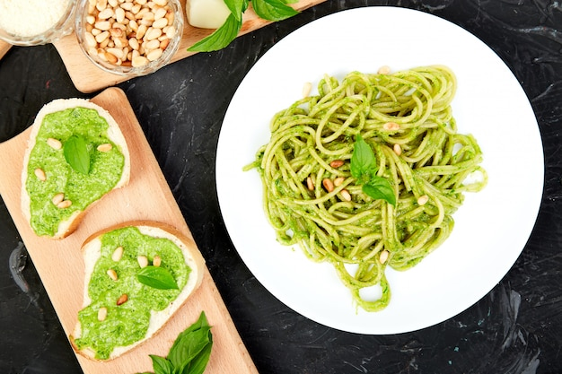 Italian pasta spaghetti with homemade basil pesto