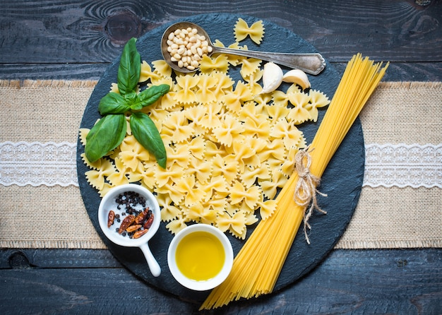 Italian pasta with pesto sauce made with basil leaf