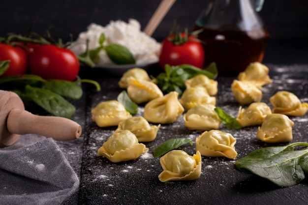 Italian pasta with spinach and ricotta