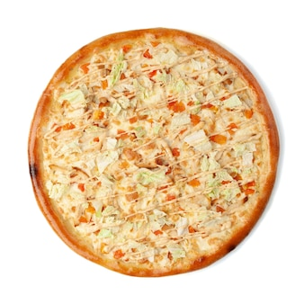 Italian pizza caesar. with chicken breast, oh tomatoes, lettuce, mozzarella and parmesan, caesar dressing. view from above. white background. isolated.