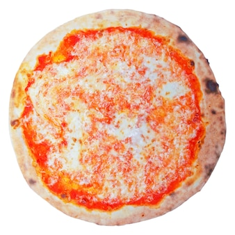 Italian pizza margherita (margarita) with tomato and mozzarella cheese - isolated over a white background