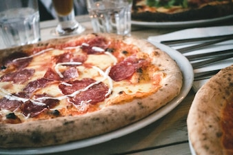 Italian pizza salami close up