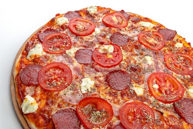 Italian pizza over white