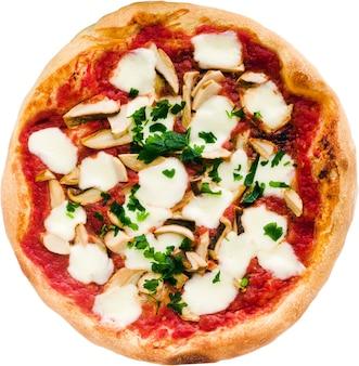 Итальянская пицца с грибами, изолированные на белом. дизайн, ресторан, меню, реклама