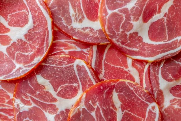 Italian prosciutto or parma ham.