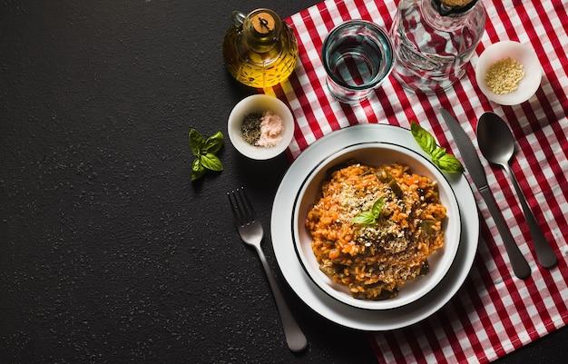 Italian risotto with tomato sauce