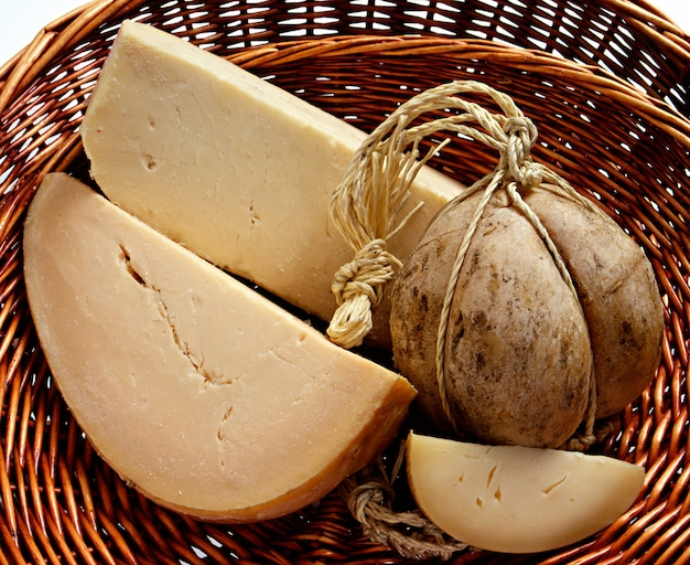 Italian rovolone cheese in a basket