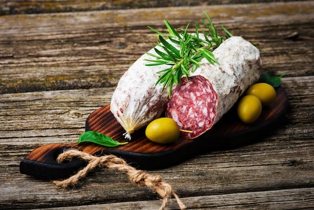 Italian salami with rosemary and olives