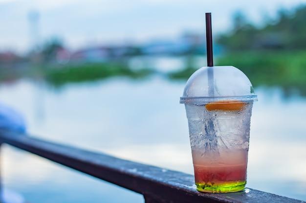 Italian soda cold blur background river