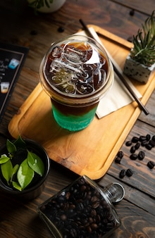 Italian soda placed wooden table cold drink