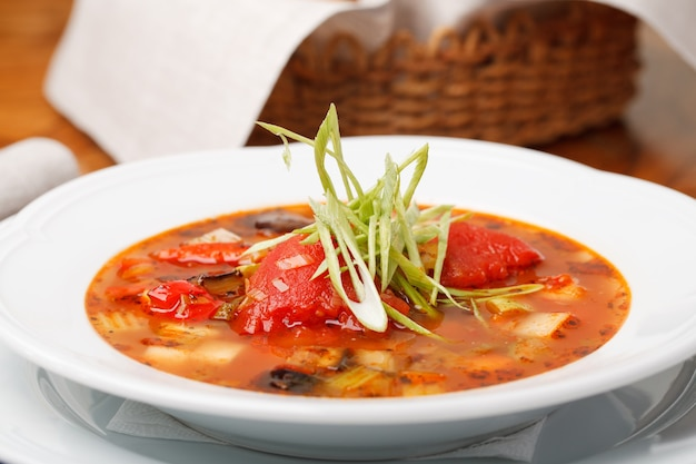 Italian soup served on plate