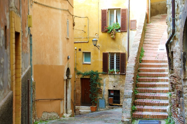 Italian street with stairs in perugia, italy