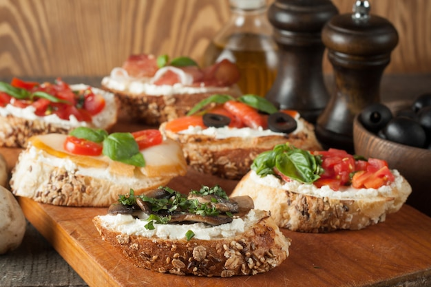 Italian tomato and cheese bruschetta
