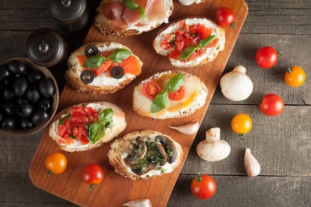 Italian tomato and cheese bruschetta