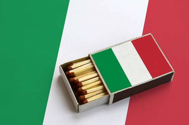 Italy flag  is shown in an open matchbox, which is filled with matches and lies on a large flag