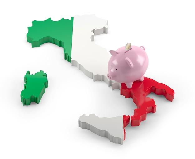 돼지 저금통에 이탈리아 국기 지도입니다. 3d 그림