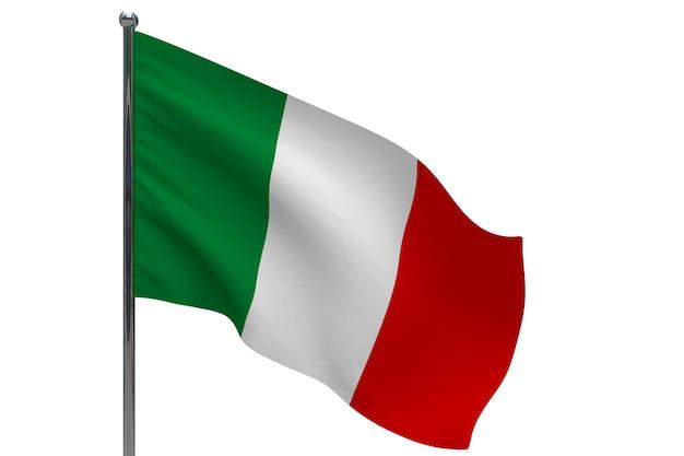 Флаг италии на полюсе. металлический флагшток. национальный флаг италии 3d иллюстрации на белом