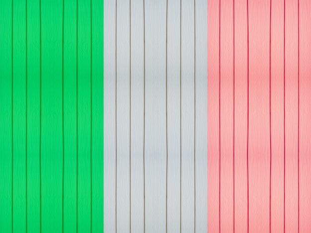 木製の背景にイタリアの旗。