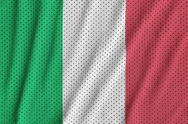 Italy flag printed on a polyester nylon sportswear mesh fabric