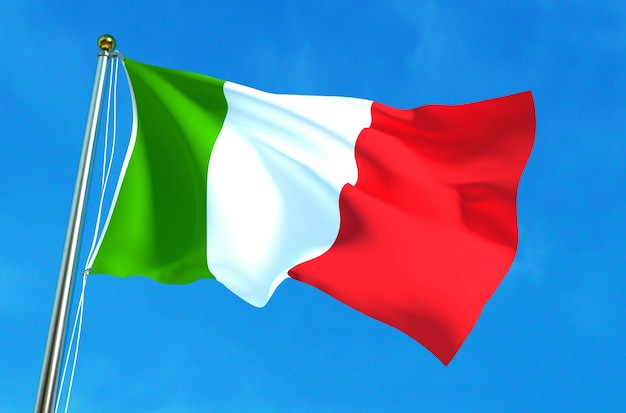 Italy flag waving on the blue sky background