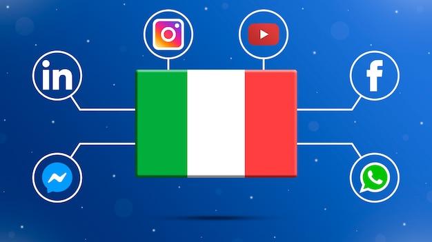 Italy flag with social media logos 3d