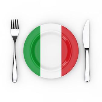 イタリア料理または料理のコンセプト。白地にイタリア国旗のフォーク、ナイフ、プレート。 3dレンダリング