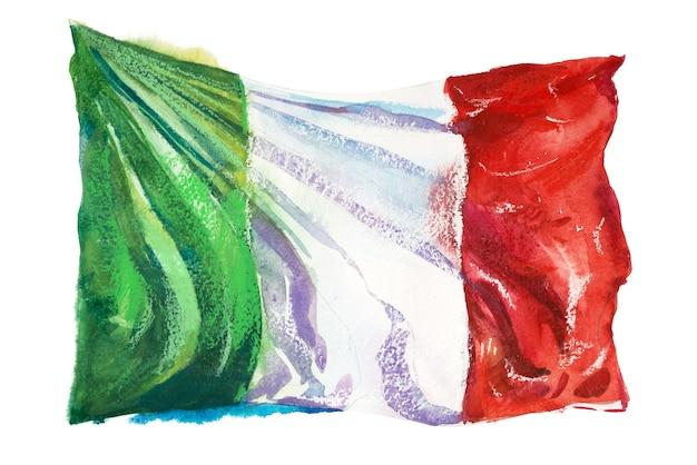 Италия, итальянский флаг. ручной обращается акварель иллюстрации.