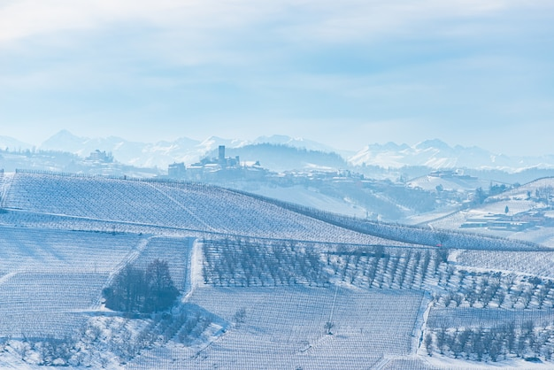 Italy piedmont: row of wine yards, unique landscape in winter with snow, rural village on hill top, italian historical heritage nebbiolo grape agriculture panoramic view