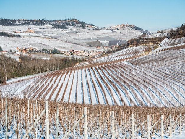 Italy piedmont: row of wine yards, unique landscape in winter with snow, rural village on hill top