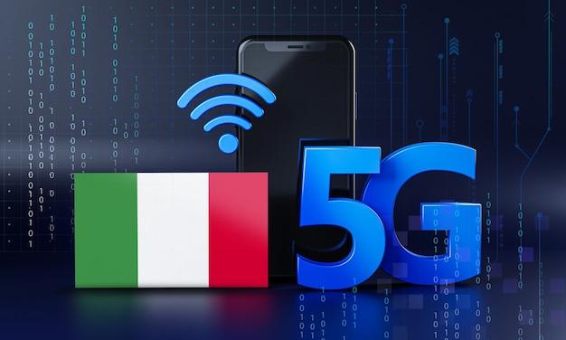 イタリア5g接続コンセプトの準備ができました。 3dレンダリングスマートフォン技術の背景