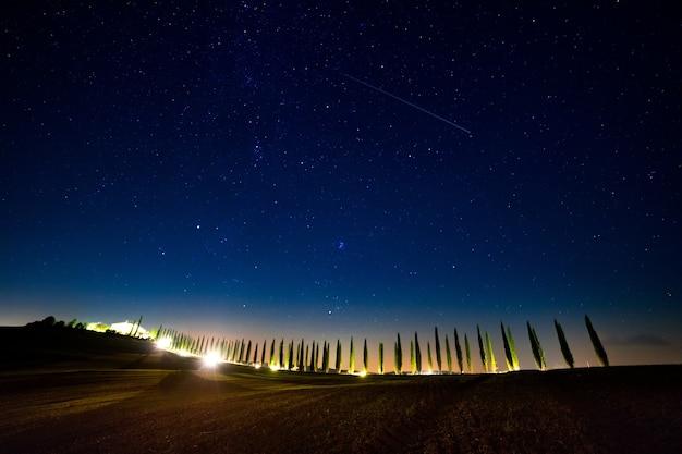 이탈리아. 투스카니. 백라이트가있는 사이프러스 골목 위의 구름없는 별이 빛나는 하늘