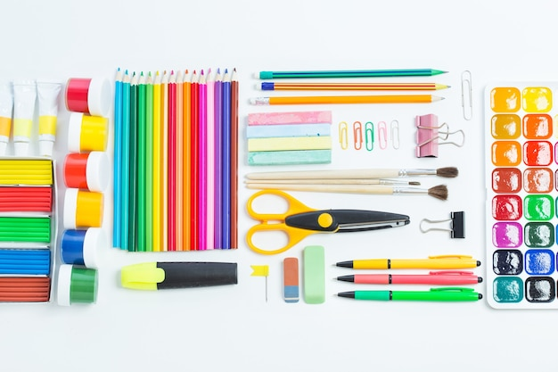 Items for children's creativity on a white background