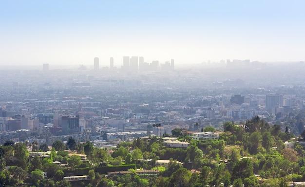 Городской пейзаж с небоскребами в лос-анджелесе