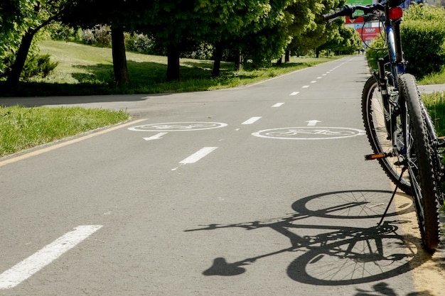 Ivano-frankivsk, 29 may 2020: mountain bike stands in park on bicycle path.