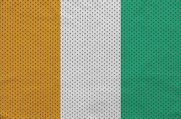 Ivory coast flag printed on a polyester nylon sportswear mesh fabric