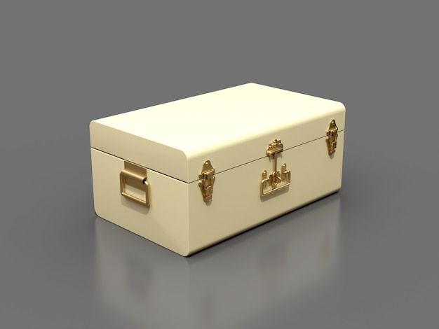 絶妙な留め金が付いているアイボリーの白い革のスーツケース。何世紀にもわたる伝統を持つクラシックなプレミアムデザイン。ヴィンテージスタイルのモダンな新製品。 3dイラスト。