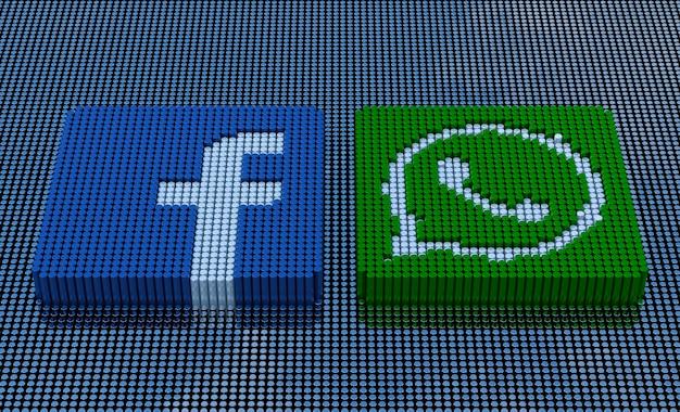 터키 이즈미르 - 2021년 5월 14일: 픽셀 아트 스타일 facebook 및 whatsapp 로고. 3d 렌더링
