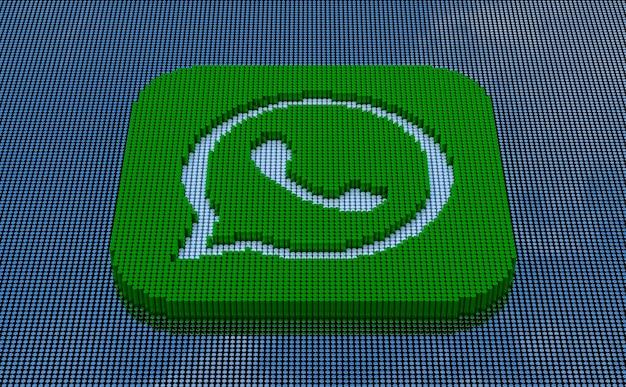 터키 이즈미르 - 2021년 5월 14일: 픽셀 아트 스타일 whatsapp 로고. 3d 렌더링