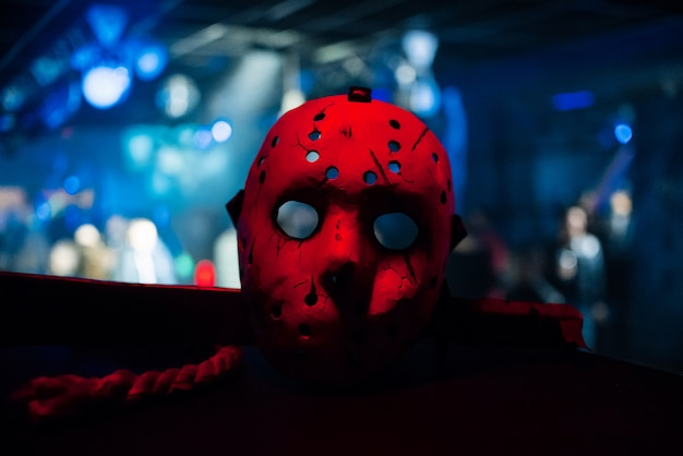 Jack mask from halloween costume with red light